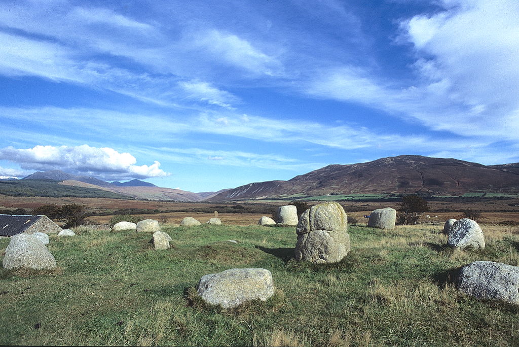 General view of Circle 5 stone circle at Machrie Moor, Arran. This circle consists of eight inner round granite blocks and fifteen outer circle blocks.