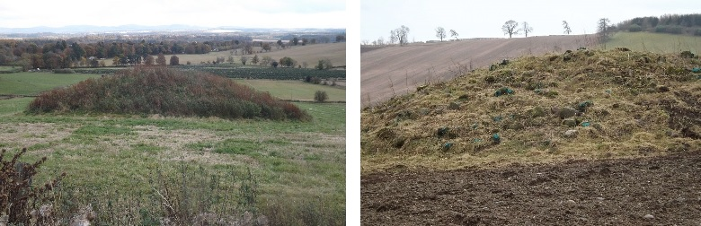 A prehistoric burial cairn before and after vegetation was cleared