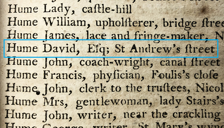 """Directory entry which reads: """"Hume, David, Esq. St Andrew's Street."""