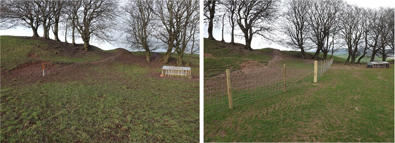 The site of a hill fort before and after the addition of a fence made from wood and wire