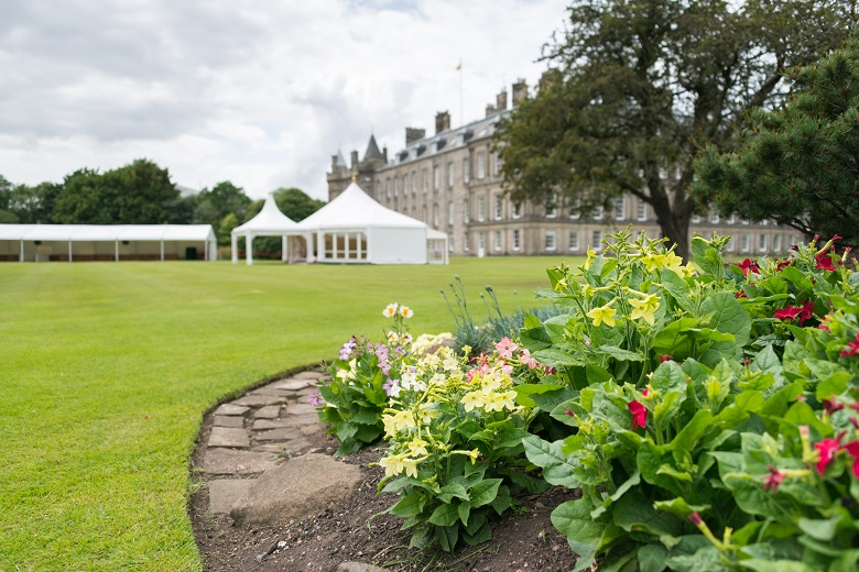 Marquees set up in Holyrood Palace ahead