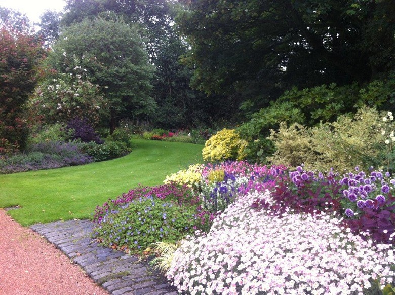 A general view of colourful flowers in the gardens at Holyrood Park