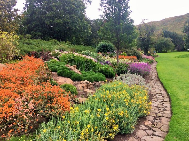 A border of flowers in the Holyrood Palace garden