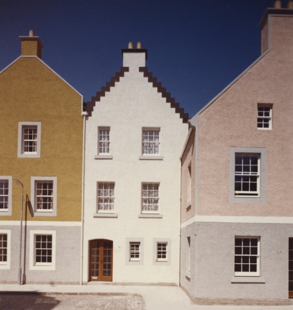 reconstructed seventeenth and eighteenth century townhouses and tenements on the High Street of Dysart in Fife