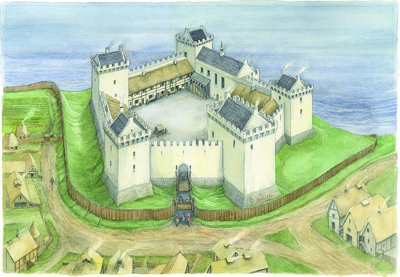 Aerial reconstruction showing a castle perched on a cliff. Buildings surround an inner courtyard.