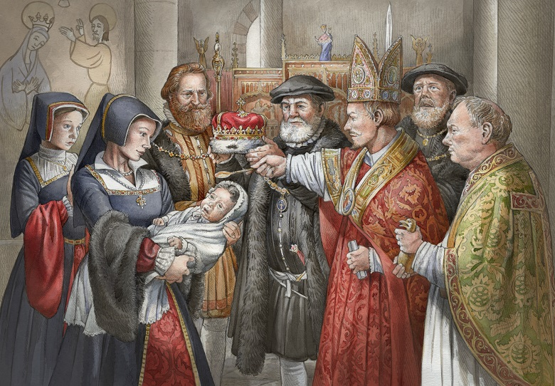 A group of people wearing 16th century clothing gather round a baby. A man dressed as a Cardinal anoints a baby.