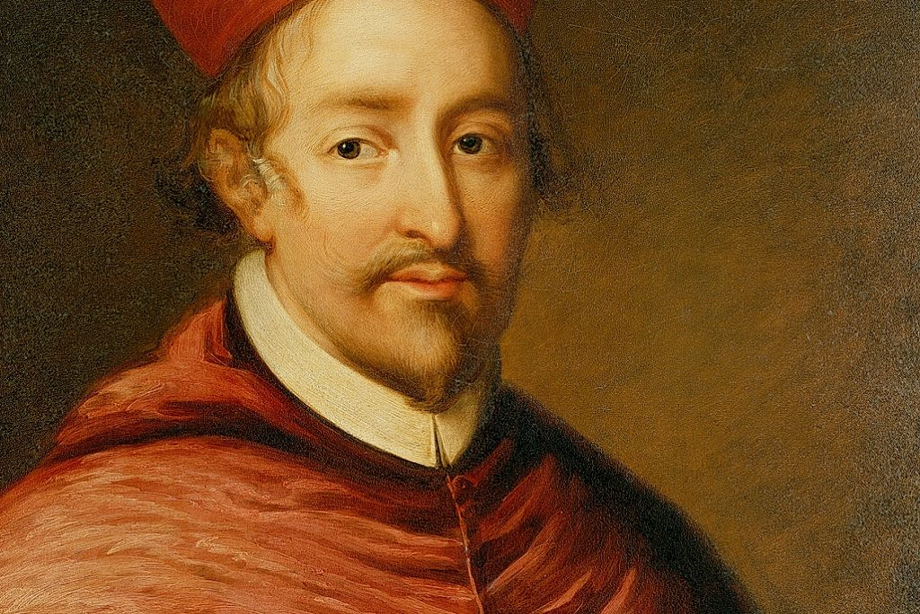 Painted portrait of Cardinal Beaton. He has a goatee beard and wears a red Cardinal's hat.