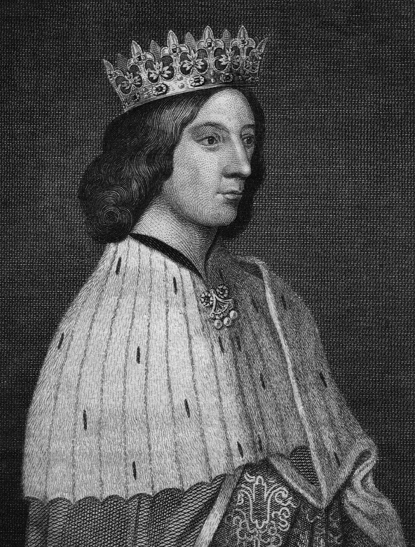 A black and white drawing of a king in regal clothing and crown