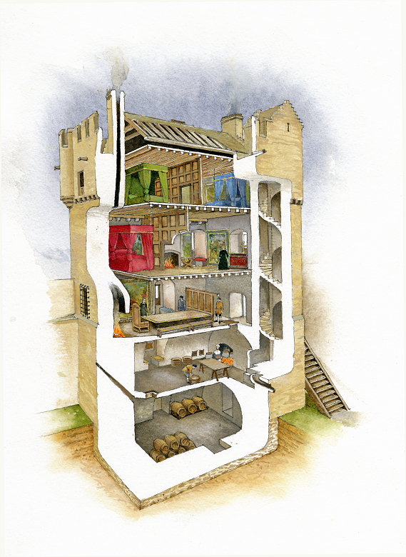 An illustration of a castle tower cutaway to reveal rooms, furniture and inhabitants inside