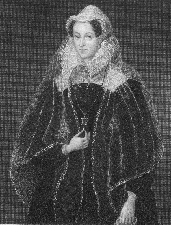 A black and white drawing of Mary Queen of Scots in regal attire