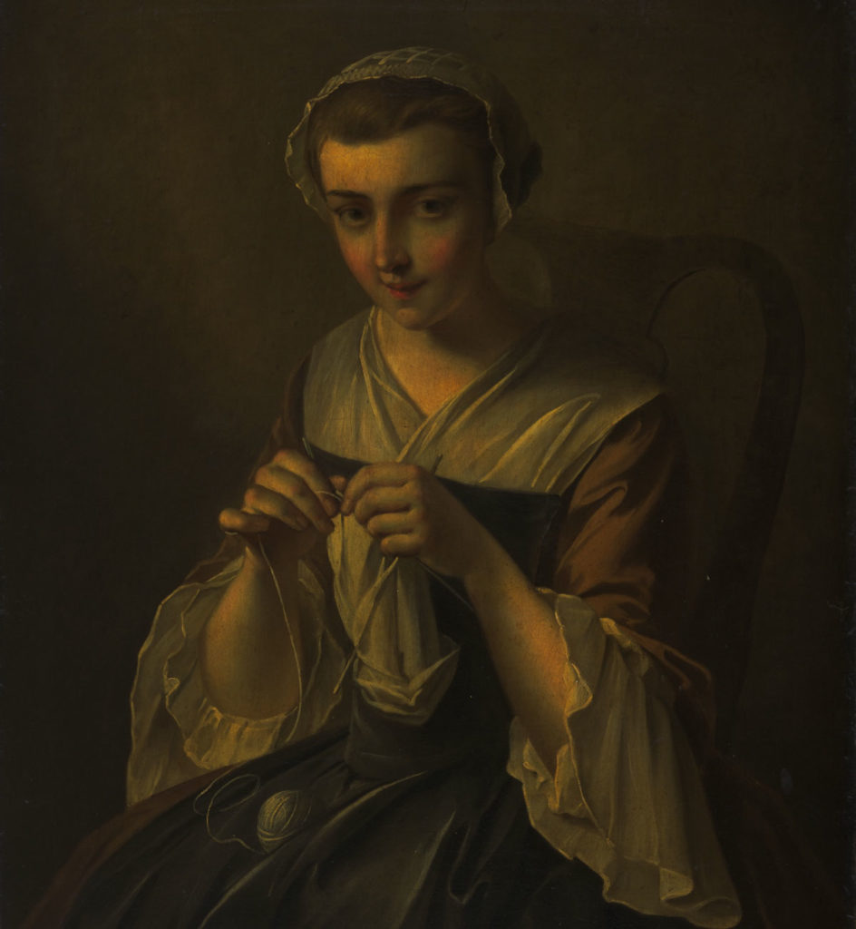 A portrait of a woman in a historical dress, knitting and smiling at the painter.
