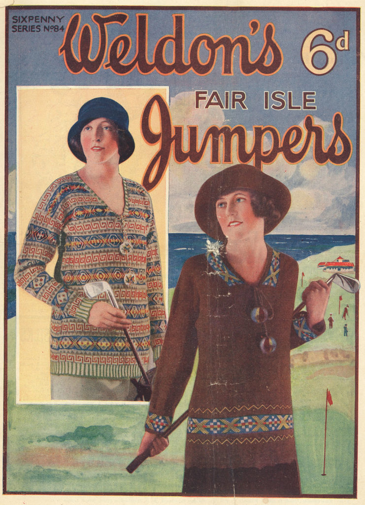 A magazine cover with illustrations of women wearing knitted clothes.