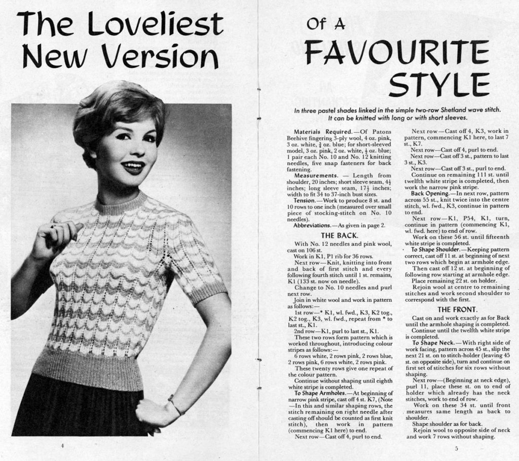 "A double page spread from a book, with a photograph of a woman in a knitted top and the title ""The loveliest new version of a favourite style""."