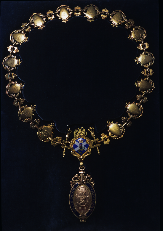 A gold chain of office featuring emblems including a St Andrew's cross