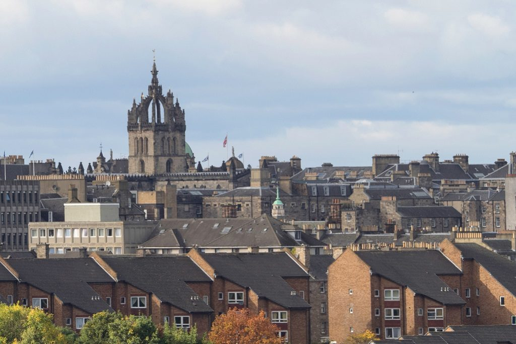 "Image of Edinburgh skyline with the distinctive ""crown"" spire of St Giles Cathedral"