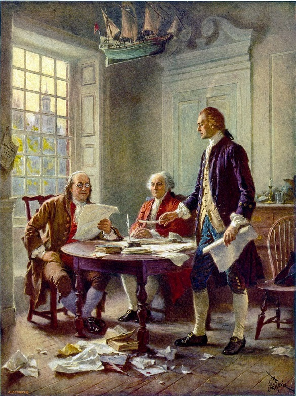 Artist's impression of Jefferson, Adams & Franklin writing the Declaration of Independence