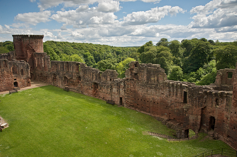 Aerial view taken inside the ruins of Bothwell Castle. SHows the impressive ruins of the curtain wall.