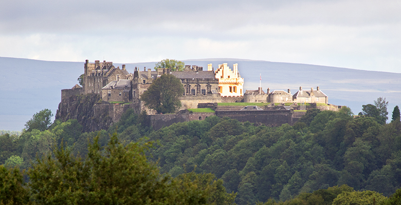 Aerial view of Stirling Castle, highlighting its position on its craggy rock.