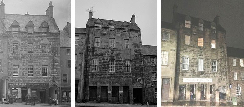 three images side by side showing the changes to a tall block of flats over the centuries.