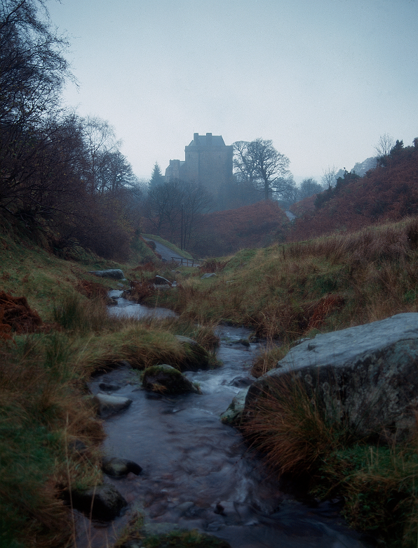 A stream in front of a castle shrouded in mist