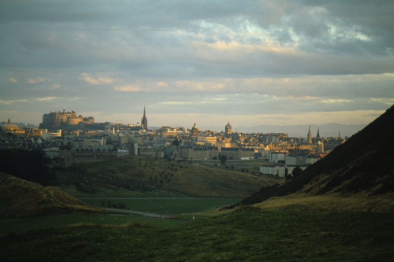 A view across a park to the city of Edinburgh