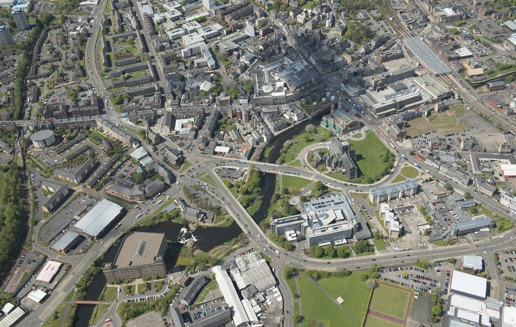 An aerial view of Paisley