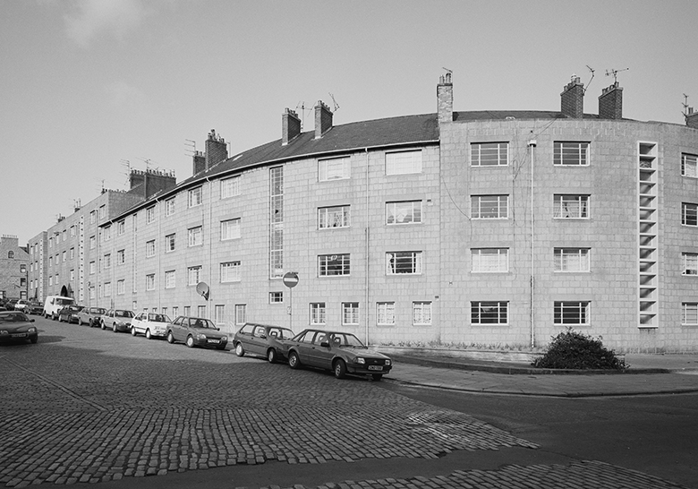 View of mid-20th century flats.