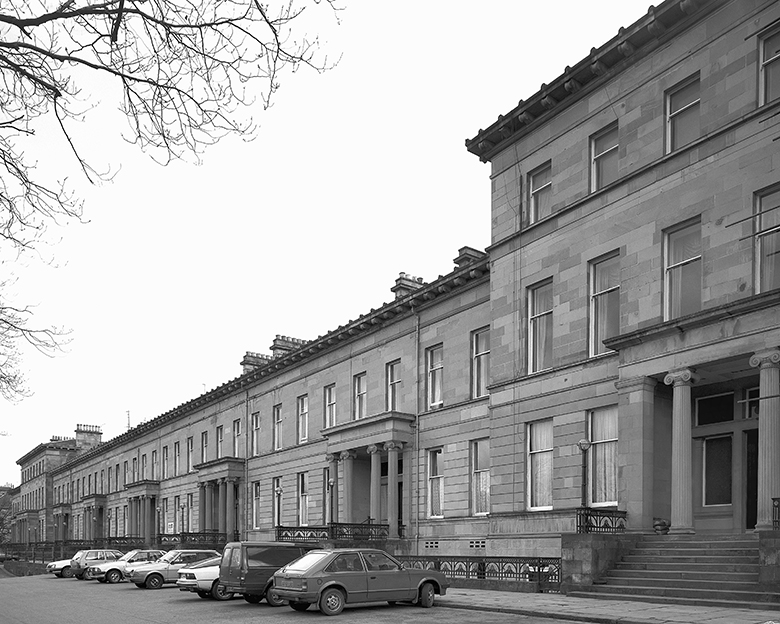 Large terraced houses in the Georgian style.