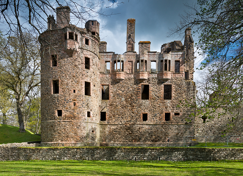 exterior view of the ruins of Huntly Castle