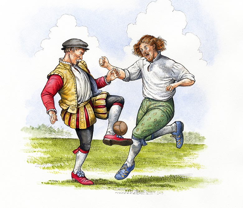 an illustration showing two men in renaissance clothing playing football