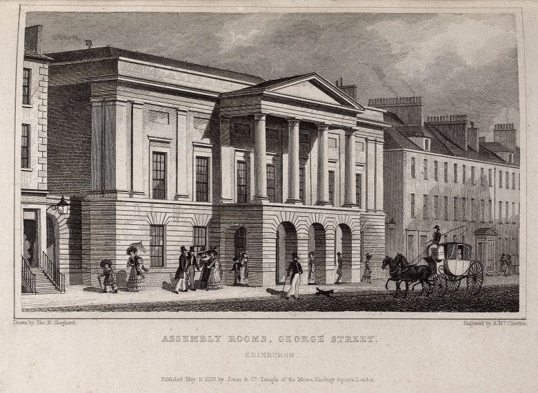 Illustration of pedestrians outside a grand building