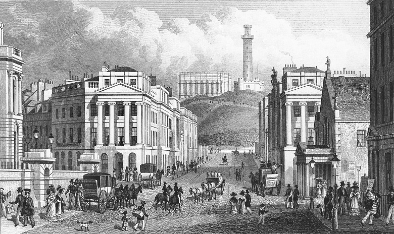 A print of pedestrians, horses and carriages on a busy Edinburgh street