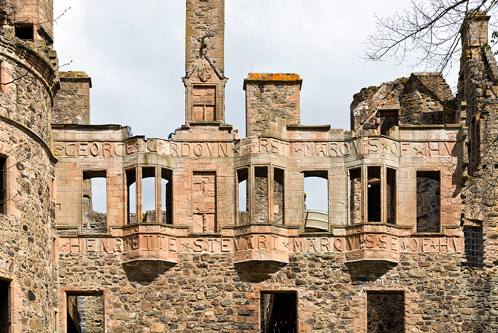 view of fancy carvings around windows at Huntly Castle