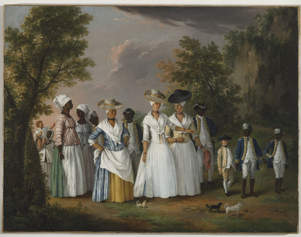 A portrait of mixed race women, their African servants and children wearing 18th century clothing.