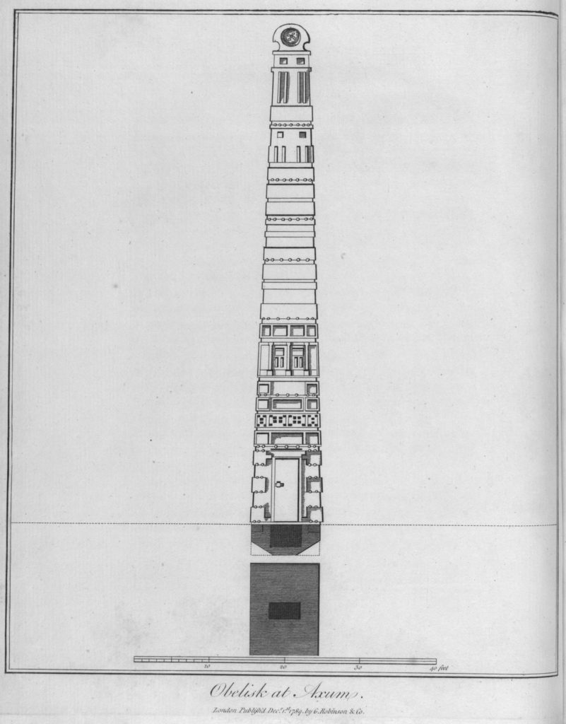 A drawing of a tall obelisk made of carved blocks