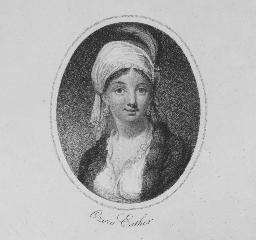An illustration of a woman wearing a turban with a feather
