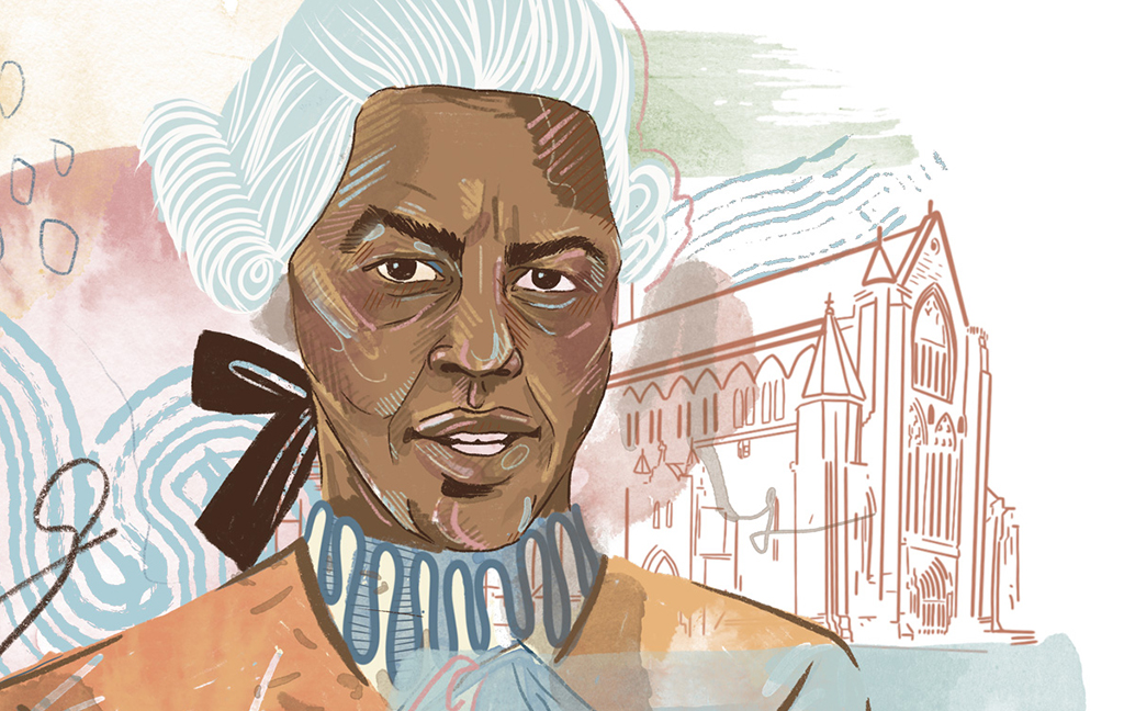 an illustration showing a black man in Recency era clothes and wig. Paisley Abbey is in the background