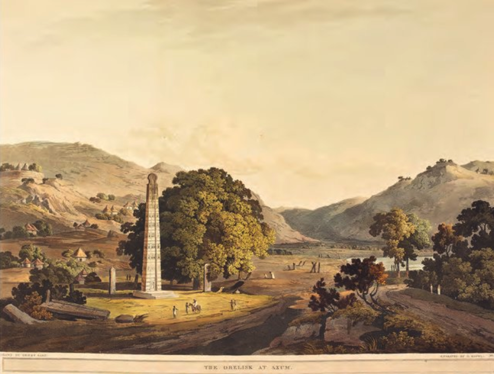 A painting showing a tall, large monument in an idyllic pastoral scene
