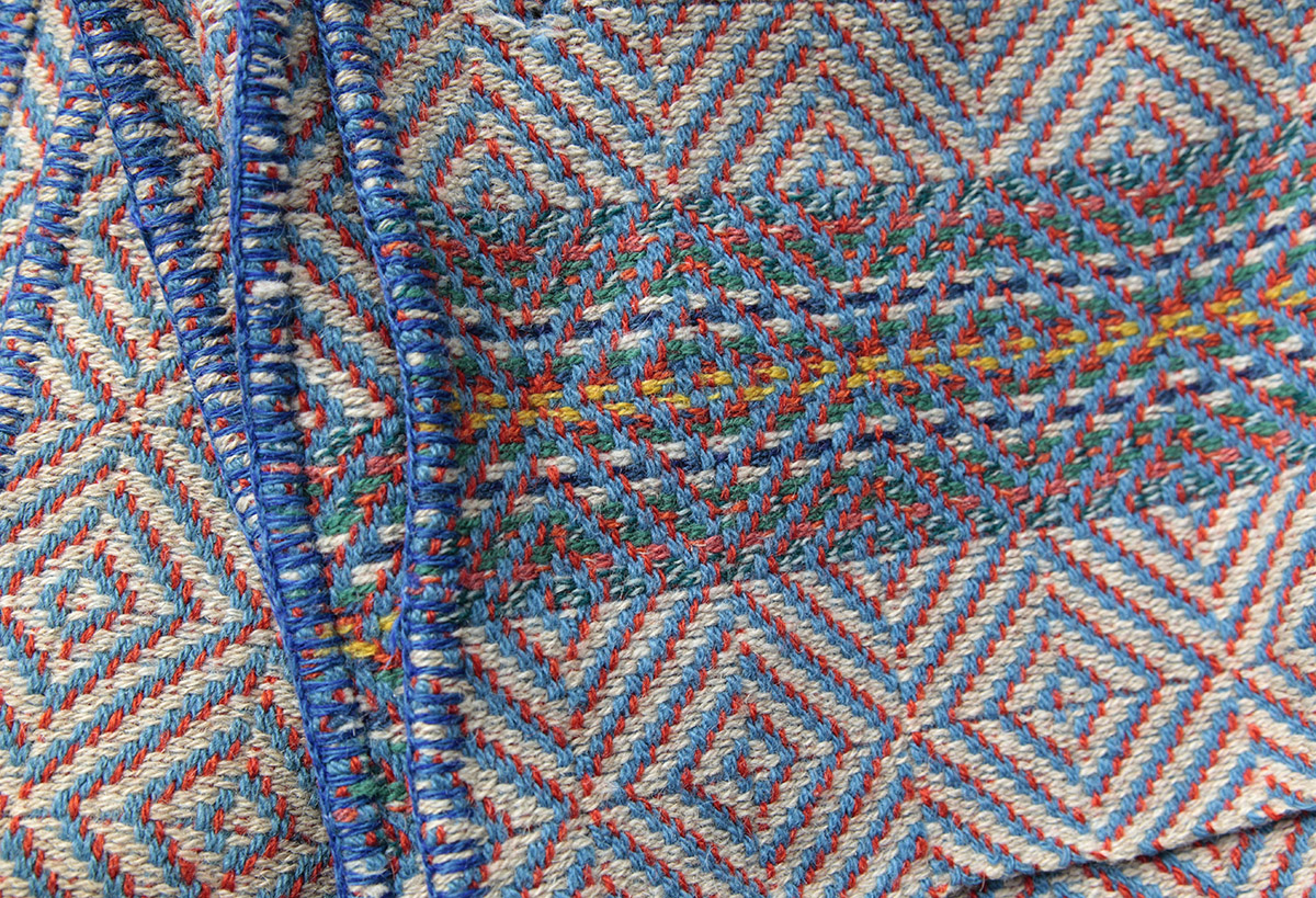 detail of colourful woven blanket