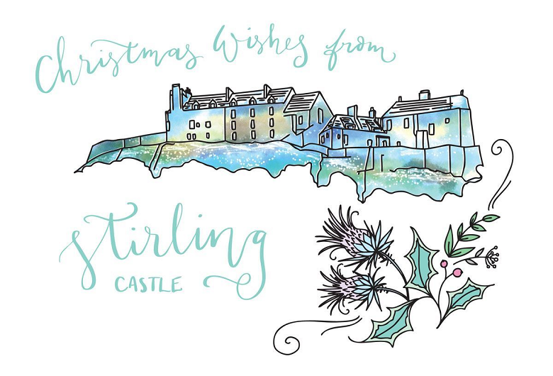 drawing of Stirling castle with thistles sketched underneath