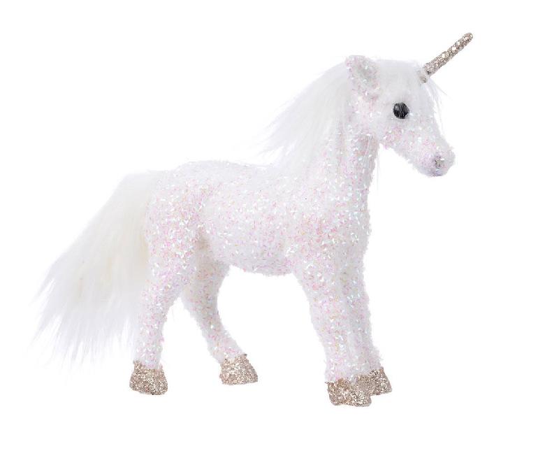 glittery unicorn ornament