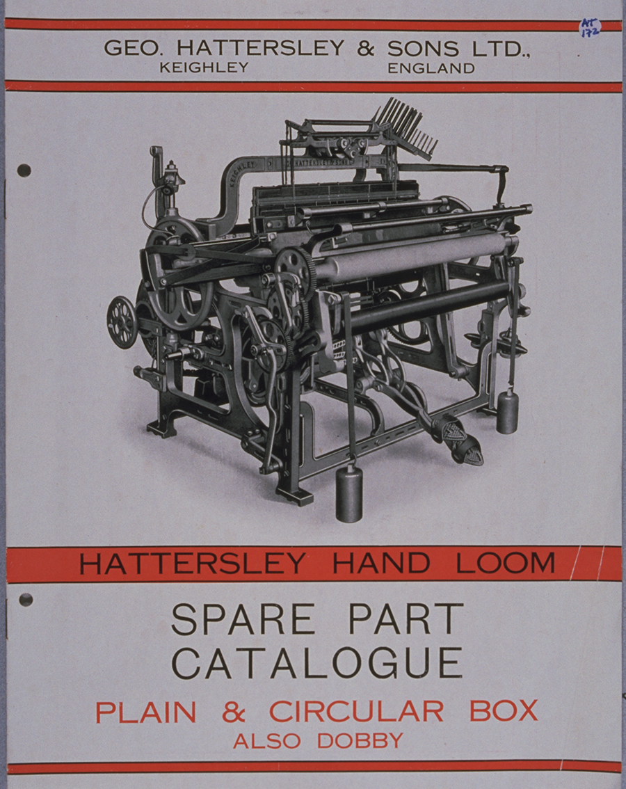 cover of a catalogue with a diagram of a loom