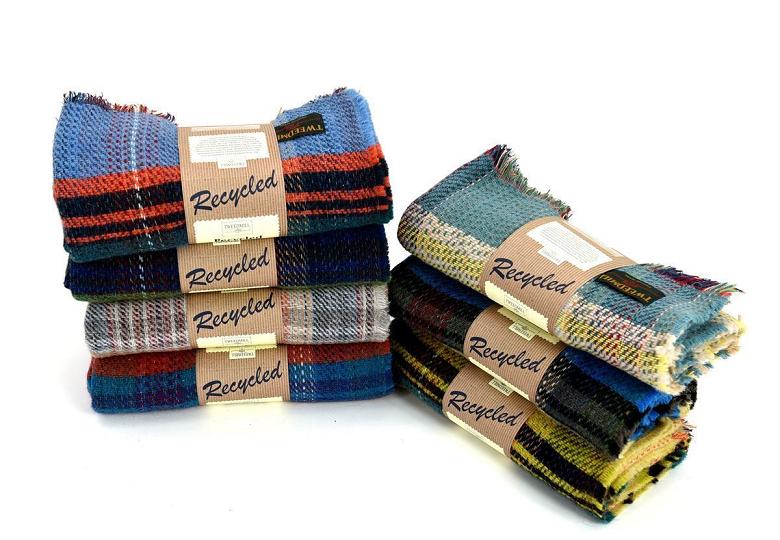 pile of woolen blankets