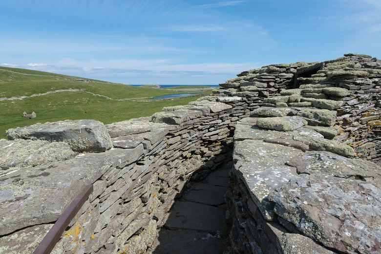 A passageway at the top of a historic broch