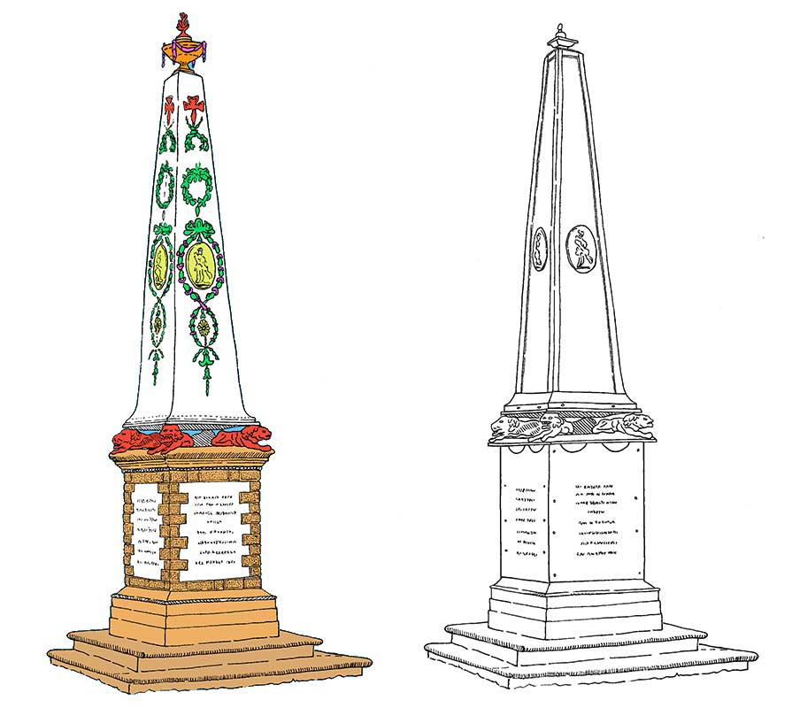 Two illustrations side by side of the James Bruce Monument, one coloured in and showing more ornate decoration.