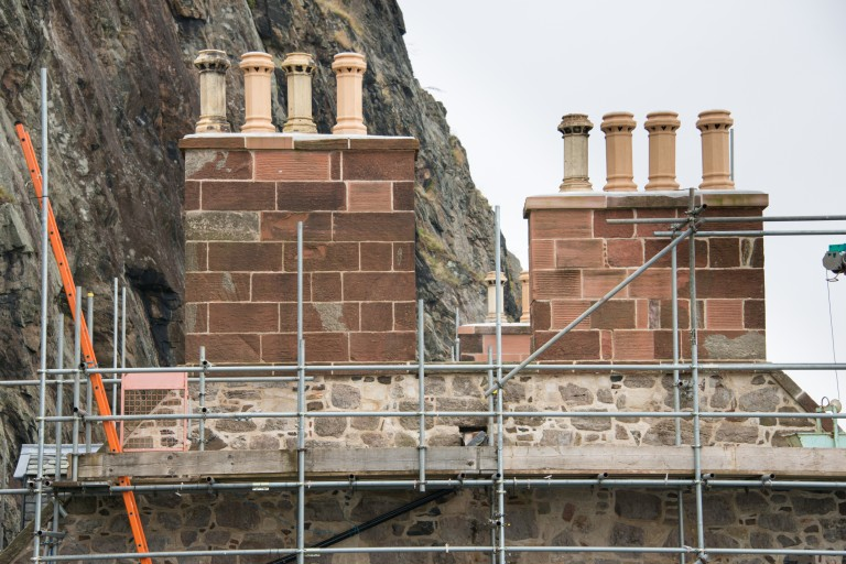 Chimneys surrounded by scaffolding