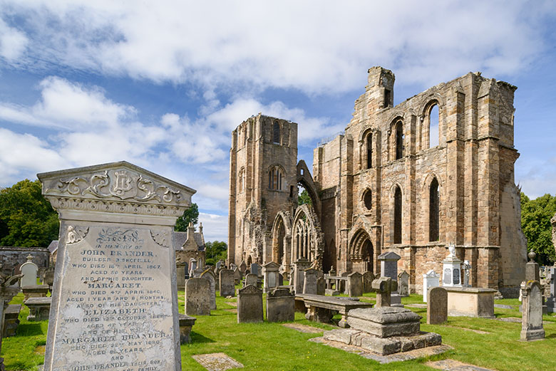 exterior view of the ruins of Elgin Cathedral