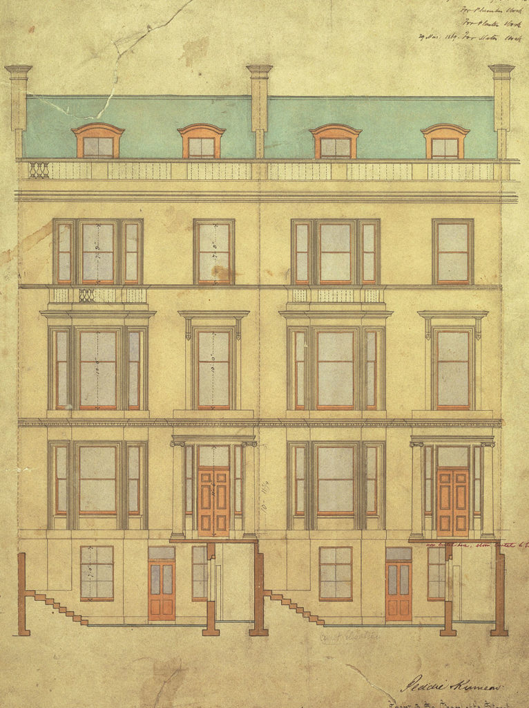 An architectural design of the front of a tenement building