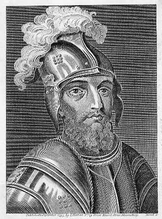 Engraved portrait showing a beaded man wearing a plumed helmet