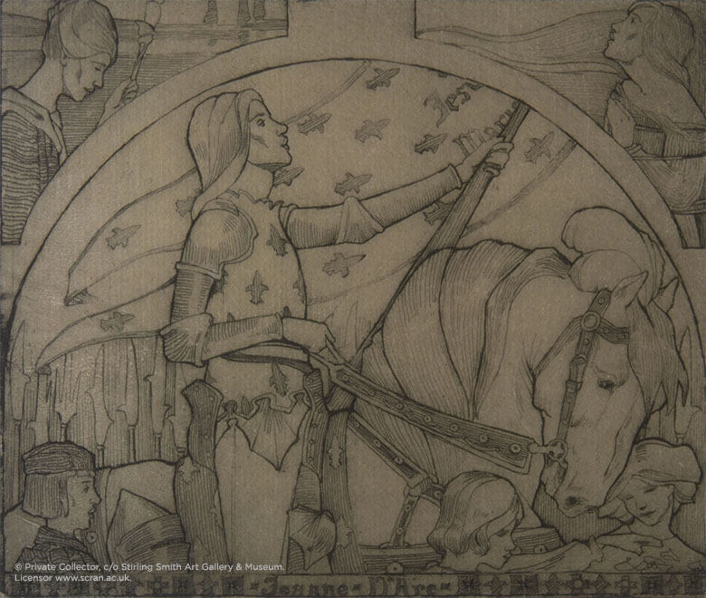Art and Crafts style depiction of Joan of Arc on horseback in black and white